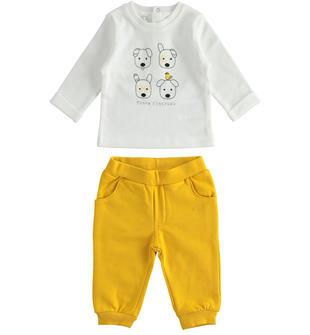 Simpatico completo per neonato con cagnolini minibanda GIALLO-1615