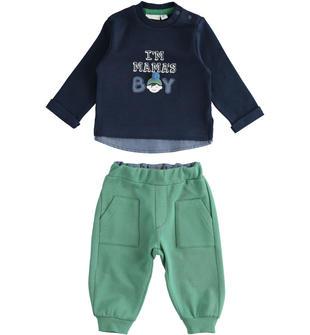 Completo girocollo con finta camicia e pantalone minibanda VERDE-4733
