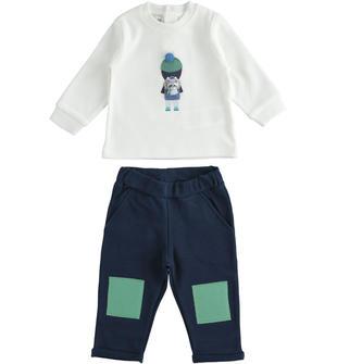 Completo due pezzi maglietta con pompon e pantalone con toppe minibanda NAVY-3854