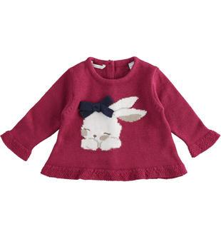 Maglioncino girocollo neonata con coniglietta minibanda BORDEAUX-2654