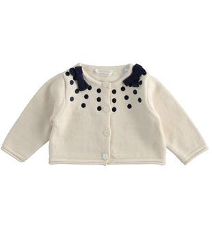 Cardigan con pois ricamati per neonata minibanda BEIGE-1033