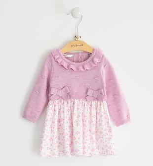 Raffinato abito per neonata mix fabric minibanda CICLAMINO MELANGE-8855