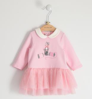 Abito per neonata in felpa con gonna in tulle minibanda ROSA-2763