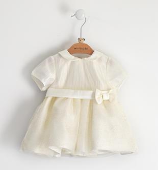 Elegantissimo abito con gonna in tulle minibanda PANNA- GOLD GLITTER-6X17