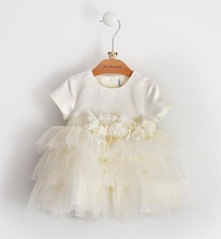 Elegante abito per neonata in raso sposa con ampia gonna in tulle minibanda PANNA-0112