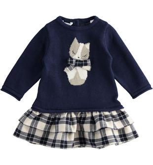 Abito mix fabric con gattino e gonna tessuto check minibanda NAVY-3854