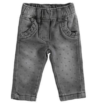 Pantalone in felpa effetto denim con cuori e pois minibanda GRIGIO-ANTRACITE-6NS2