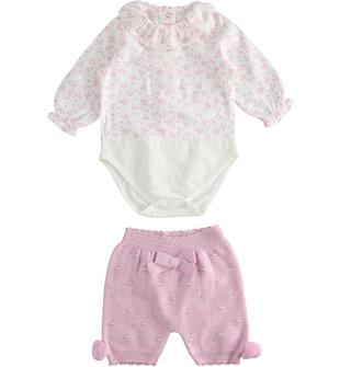 Completo body con stampa provenzale e pantalone corto in tricot minibanda CICLAMINO MELANGE-8855