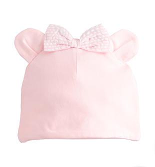 Cappello neonata in morbido cotone stretch con orecchie minibanda ROSA-2763