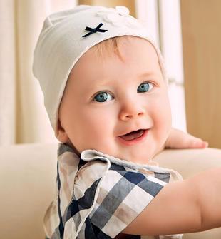 Cappello neonata color panna in cotone con fiore ricamato minibanda PANNA-0112