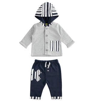 Tuta neonato 100% cotone con felpa con cappuccio minibanda GRIGIO MELANGE-8992