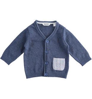 Cardigan neonato 100% cotone color cartazzucchero minibanda INDIGO MELANGE  -8988