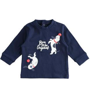 T-shirt girocollo a manica lunga 100% cotone per neonato minibanda NAVY-3854
