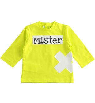 T-shirt neonato a manica lunga girocollo di color lime minibanda VERDE-5243
