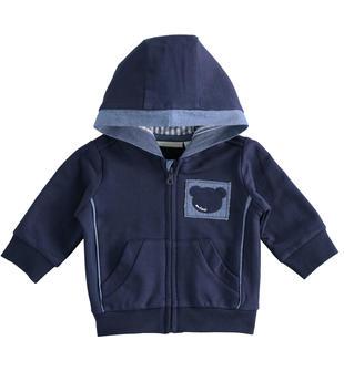 Comoda felpa full zip per neonato 100% cotone con cappuccio minibanda NAVY-3854