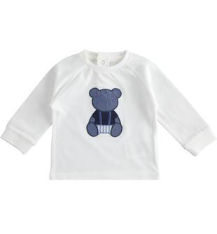 Maglietta neonato bianca in morbido jersey 100% cotone minibanda BIANCO-0113