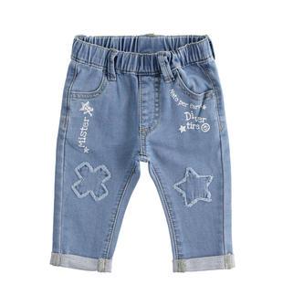 Pantalone neonato misto cotone stretch effetto denim con patch minibanda BLU CHIARO LAVATO-7310
