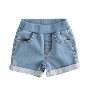 Shorts neonato in felpa denim di cotone stretch minibanda BLU CHIARO LAVATO-7310
