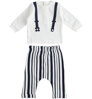 Completo neonato 100% cotone con maglietta a manica lunga con finte bretelle a contrasto minibanda