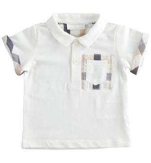 Polo a manica corta neonato in cotone con dettagli check minibanda PANNA-0112
