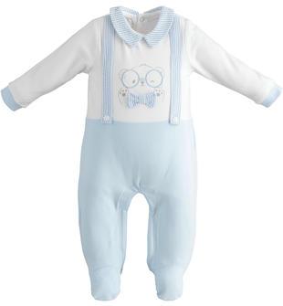 Tutina neonato con piedini in cotone modello finta salopette minibanda SKY-5818