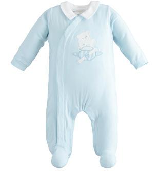 Tutina neonato in cotone stretch con colletto a contrasto minibanda SKY-5818