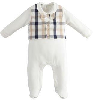 Elegante tutina neonato con colletto e piedini in cotone stretch minibanda PANNA-0112