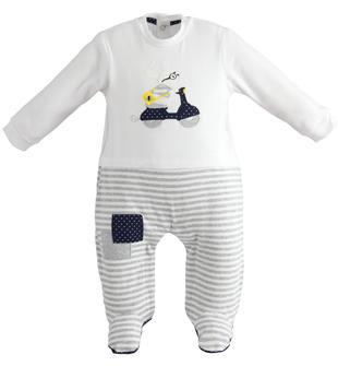Comoda tutina neonato con colletto e piedini in cotone minibanda GRIGIO MELANGE-8992