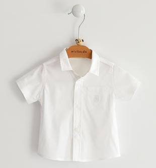 Camicia neonato in tessuto misto cotone stretch minibanda BIANCO-0113
