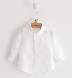 Camicia neonato a manica 100% lino minibanda BIANCO-0113