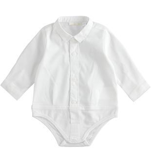 Body neonato a manica lunga in popeline misto cotone stretch minibanda BIANCO-0113