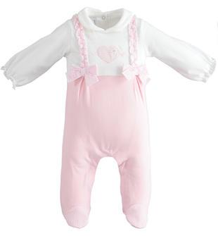 Tutina intera con colletto e piede per neonata minibanda ROSA-2763