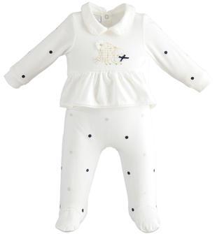 Tutina intera con piede per neonata con colletto in morbido jersey di cotone stretch minibanda PANNA-0112