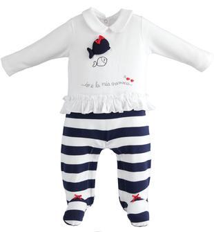 Tutina intera con piede per neonata in morbido cotone effetto doppio capo minibanda NAVY-3854