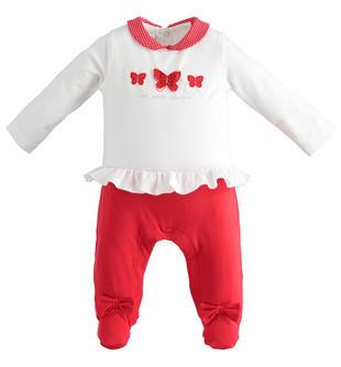 Tutina intera a manica lunga con colletto in micropois per neonata minibanda ROSSO-2256