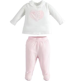 Morbida tutina due pezzi in ciniglia di cotone stretch per neonata minibanda ROSA-2763