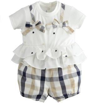 Pagliaccetto 100% cotone con top bianco con ricami pois e doppia rouches in vita minibanda NAVY-3854