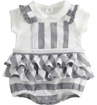 Pagliaccetto neonata in cotone stretch con colletto bianco minibanda NAVY-3854