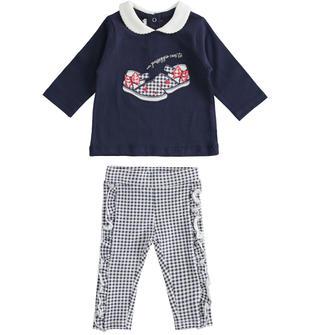 Completo due pezzi neonata in jersey di cotone stretch minibanda NAVY-3854