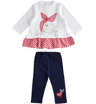 Completo due pezzi neonata in jersey di cotone dettagli check minibanda BIANCO-0113