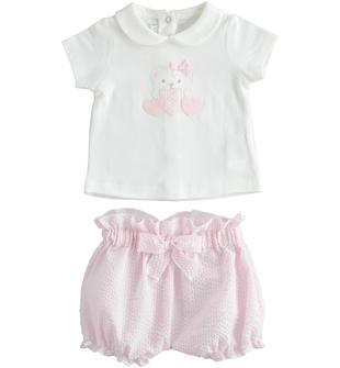 Completo due pezzi neonata in jersey di cotone con coulotte minibanda ROSA-2763