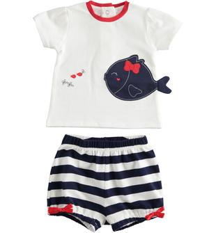 Completo due pezzi neonata in cotone maglietta con maniche a sbuffo minibanda NAVY-3854