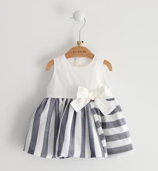 Abito smanicato neonata in popeline di cotone con top con maxi fiocco minibanda NAVY-3854