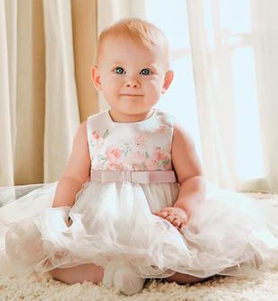 Abito neonata con top in raso sposa e stampa con tocchi floreali minibanda ROSA CIPRIA-2621