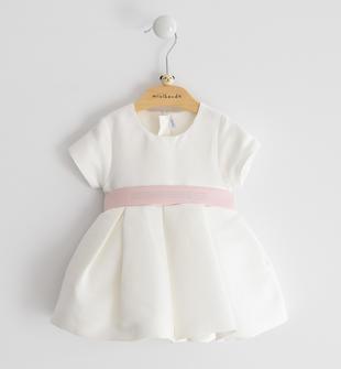 Abito neonata a manica corta in ottoman tinta unita minibanda ROSA CIPRIA-2621