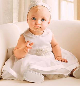 Abito smanicato per neonata in organza con colletto e balza minibanda PANNA-0112