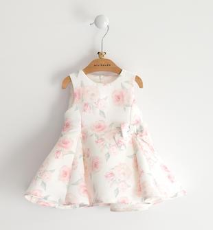Abito neonata smanicato in ottoman con delicata stampa di rose all over minibanda PANNA-MULTICOLOR-6ME2