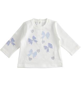 Maglietta a manica lunga per neonata 100% cotone minibanda BIANCO-0113