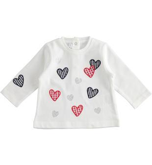 Maglietta a manica lunga neonata 100% cotone con cuore stampa vichy minibanda BIANCO-MULTICOLOR-8438