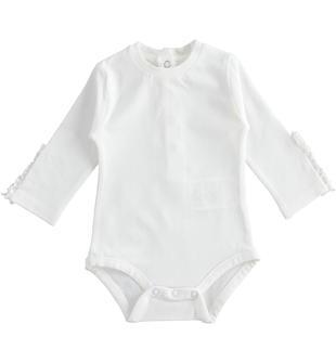 Boby neonato a manica lunga in cotone stretch minibanda BIANCO-0113